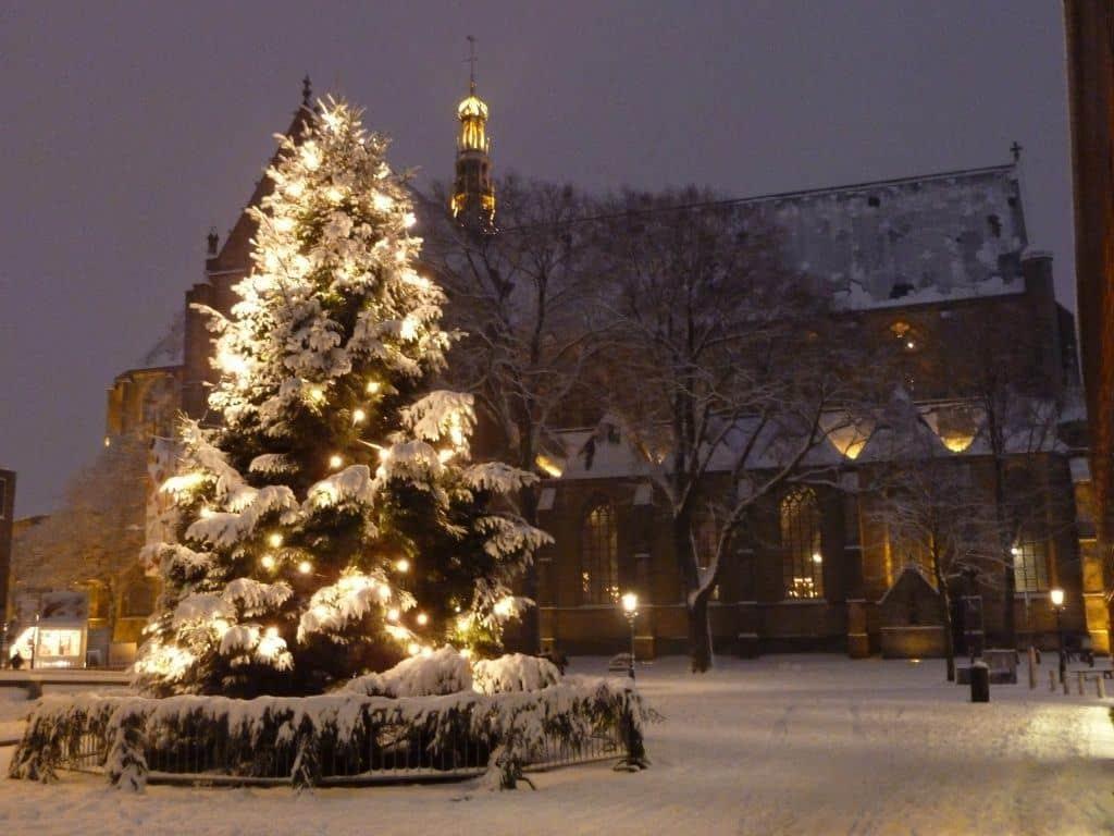 Kerstboom in de sneeuw met Grote Kerk