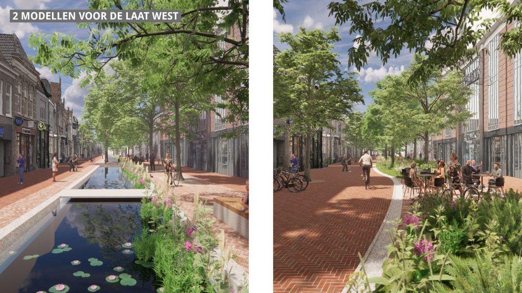 artist impression van 2 opties van vernieuwing Laat-West, een met water en 1 met groen